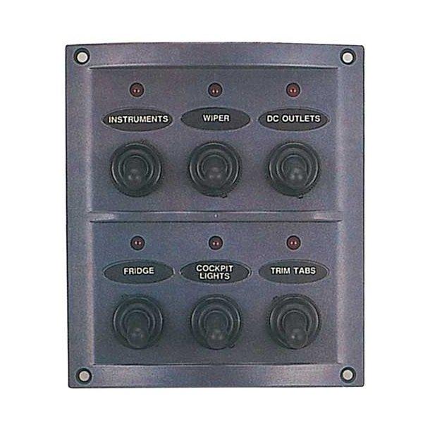 El-panel 6 kontakt m/gummi + lamper