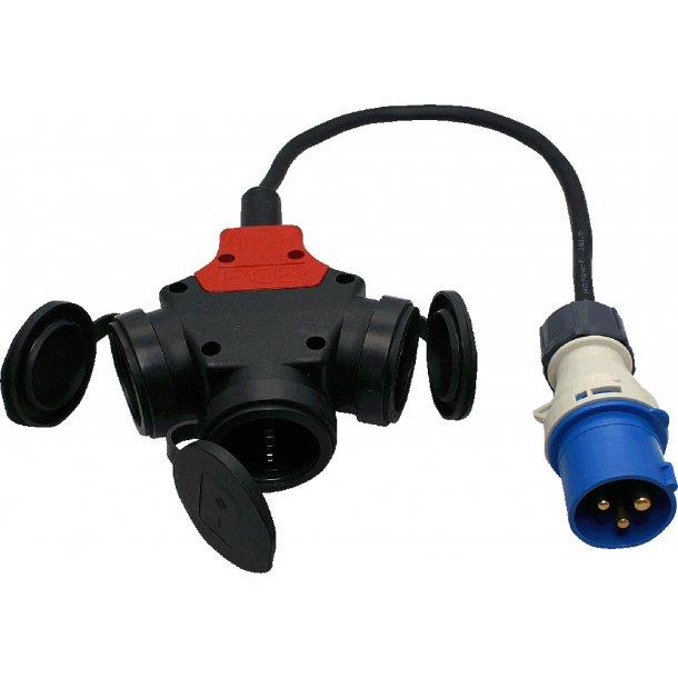 Adapter kabel CEE han - 3 Schuko hun