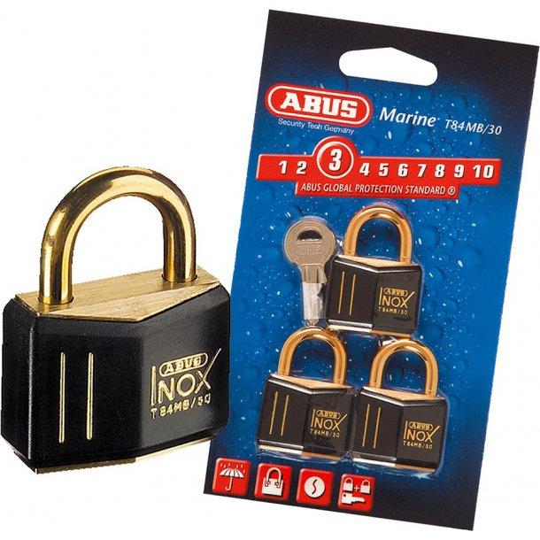 Hængelås Abus Inox Black/gold 30mm 3 lås