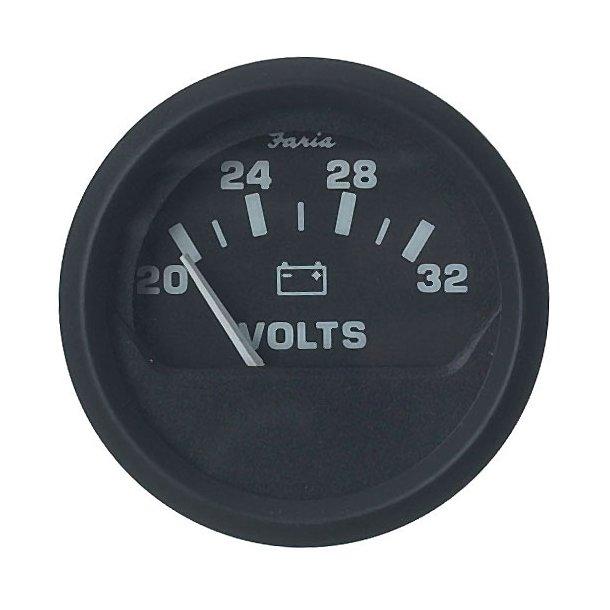 Faria Voltmeter 20-32V sort