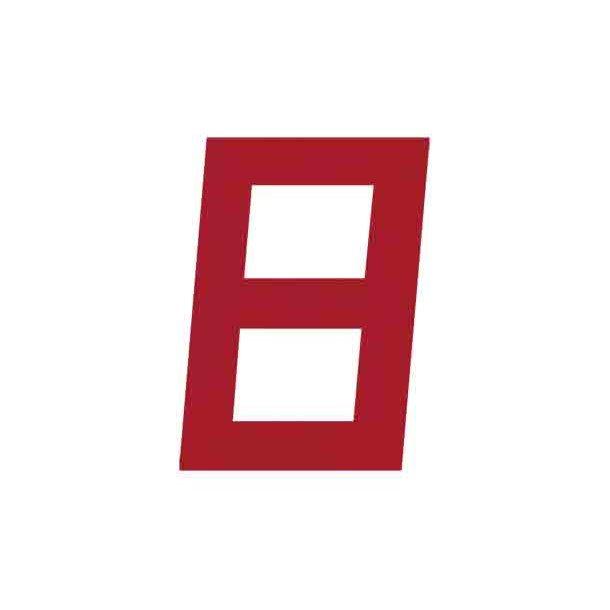 Sejlnummer rød H. 10'' 250mm