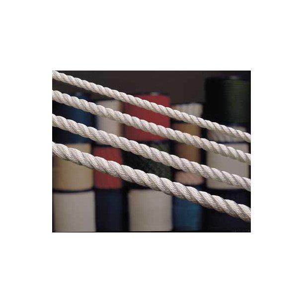 Polyester 3-slået 12mm hvid
