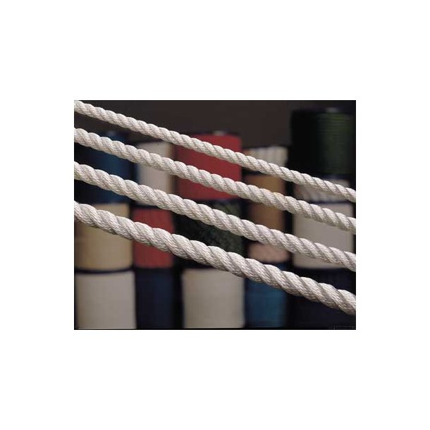 Polyester 3-slået 18mm hvid