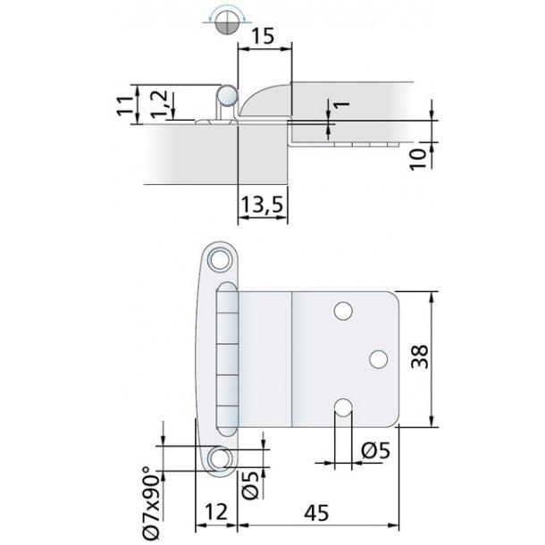 Hængsel 40x12x45mm rustfri
