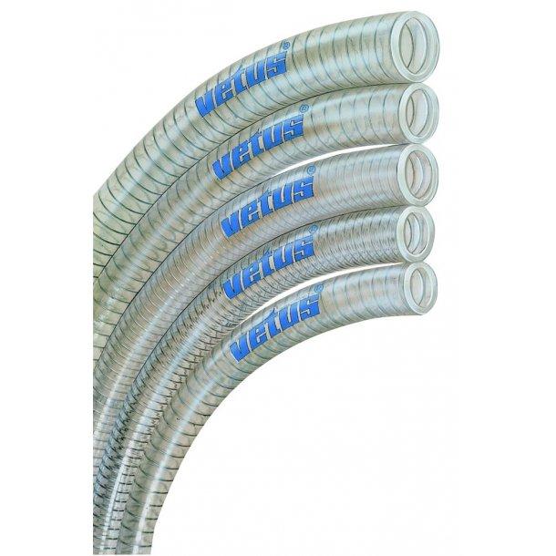 Vandslange klar PVC 38mm m/stålspiral