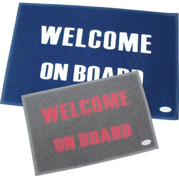 Måtte Welcome on Board 60x90cm grå