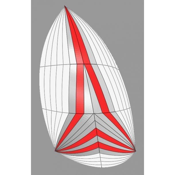 Genakker Hvid/grå/rød 50 m2