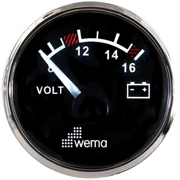 Wema Voltmeter RF/sort 8-16V